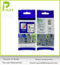 cheap tz tape 3/8″ 9mm laminated tape black on white label tape tz-221 laminated tape tze221