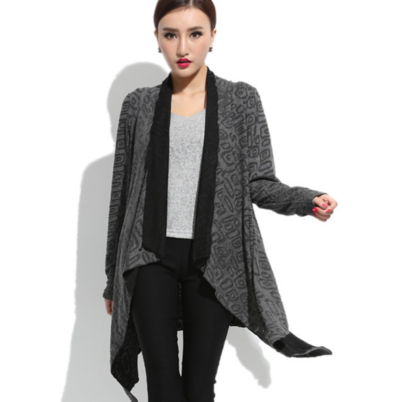 Irregular Knitted Women's Cardigan 2014 Autumn Fat Women Sweater Large Size Spring Outwear Knitting Overcoat Tippet Coat 3 Color