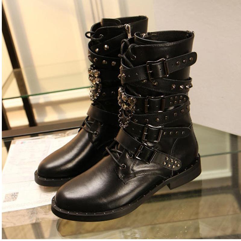 2016 shoes woman winter boots Women Rivets Brand Genuine ...