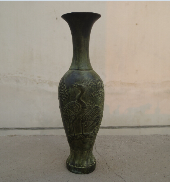 Metal Crafts H:8inch chinese Old Handwork Bronze Carved Crane Vase fast shipping(China (Mainland))