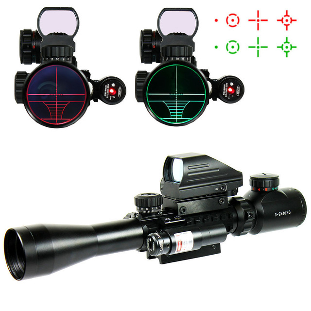Riflescopes Hunting Optics Rifle 3-9X40 Illuminated Red/Green Laser Riflescope With Holographic Dot Sight Airsoft Weapon Sight