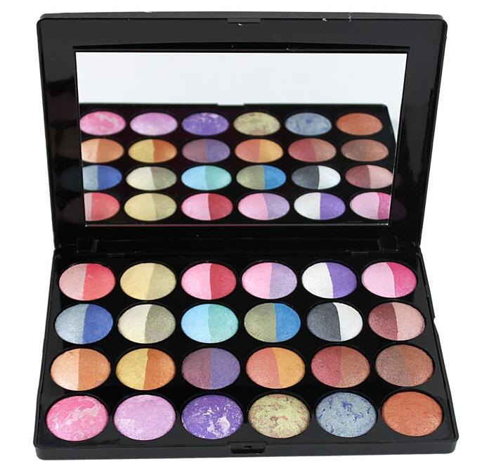 smoky mineral makeup palette 24 color mineral baked dry and wet use 2 pearl eye shadow baking baking powder / pearl eye shadow(China (Mainland))