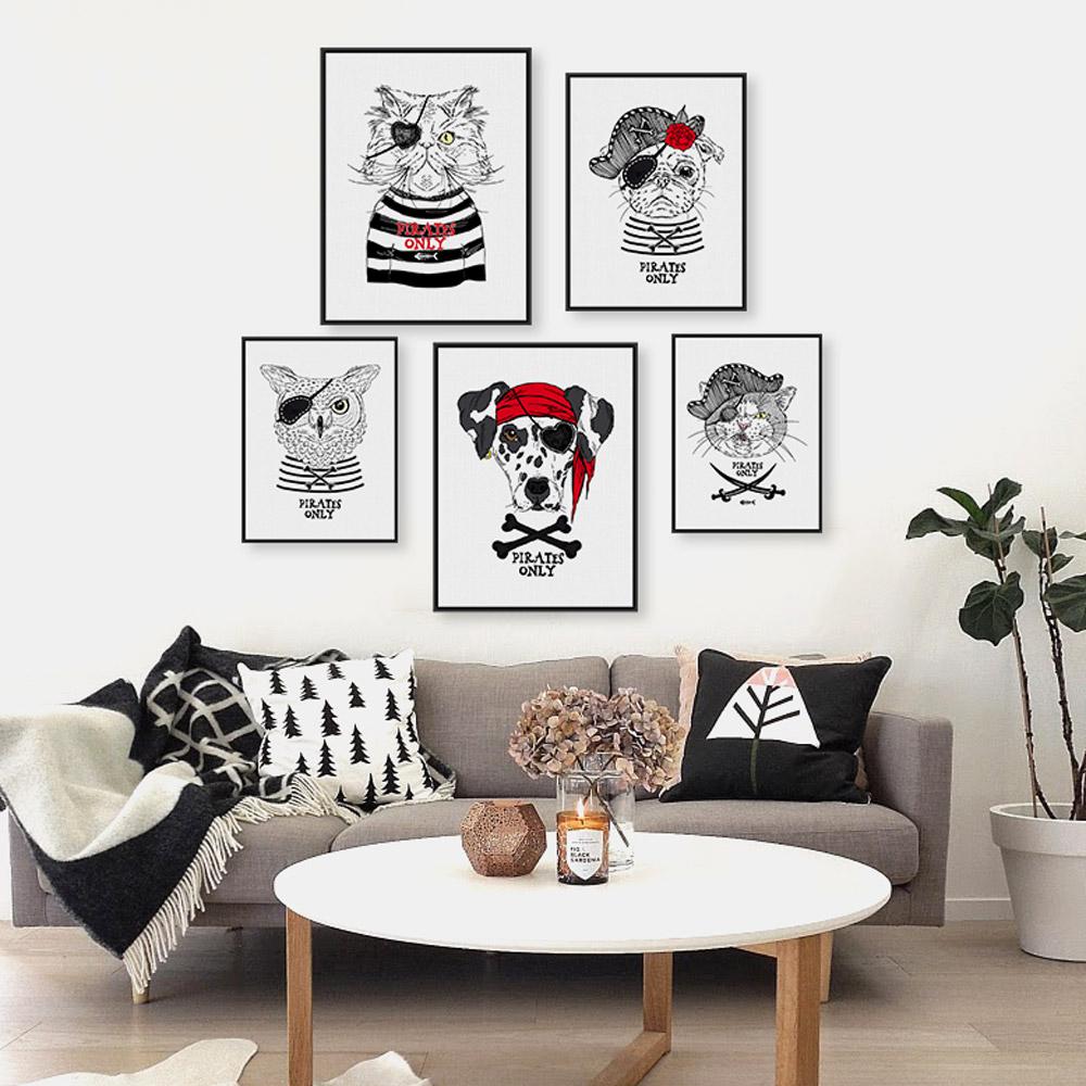 Vintage retro pirate anmial cat dog pet a4 art prints - Posters para pared ...