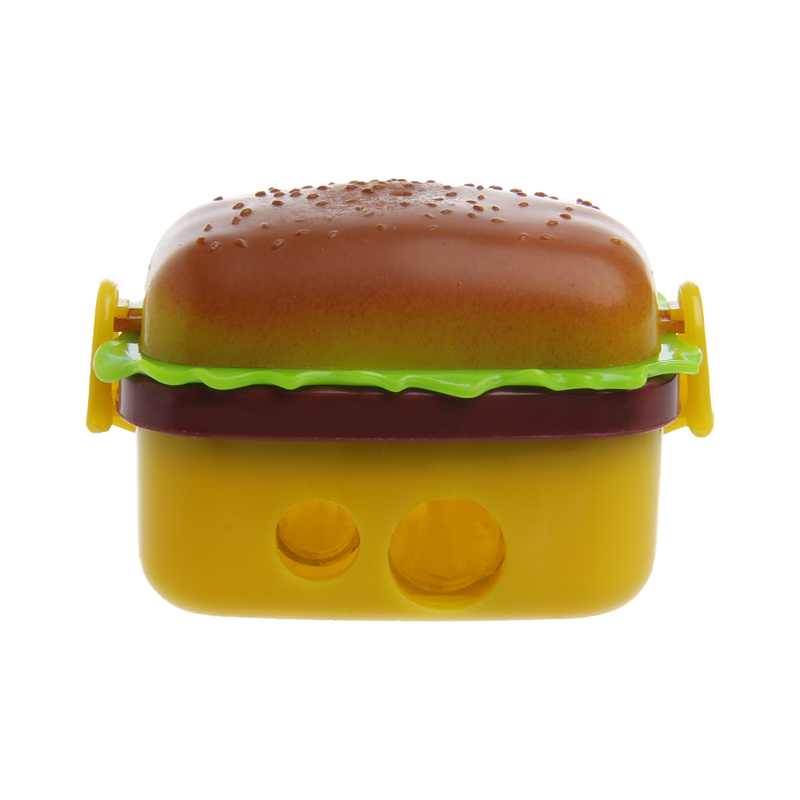 Kawaii Cute Funny Hamburger Pencil Sharpener Double Hole Penknife Kids School Pencil Knife Stationery Supplies(China (Mainland))