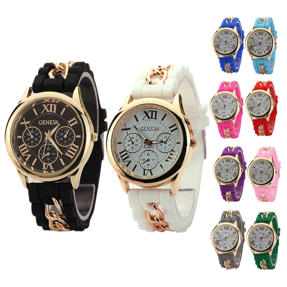 Гаджет  Free Shipping 2015 New Style women Watch 10 Colors Silicone Geneva Quartz Wristwatch H1E1 None Часы