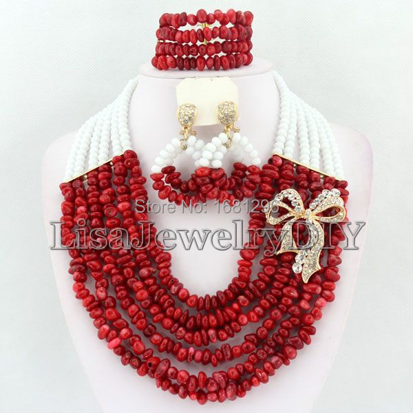 African Coral Beads Jewelry Sets Nigerian Wedding African Beads Jewelry Set Free Shipping   HD1029<br><br>Aliexpress