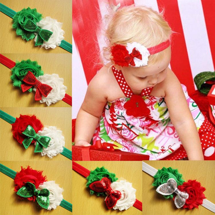 Baby Hair Accessories 10 Colors Fabric Shabby Flower Satin Headband Christmas Headbands Kids Hair Bows Girls Head Wear FS261(China (Mainland))