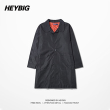 Heybig Brand Long Trench Three Quarter,Back Print Men Jackets Black Coat Loose Autumn-Winter Roupas masculinas,Cool Windbreakers(China (Mainland))