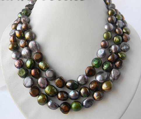 FREE shipping3Strands 18 12MM Coffee Gray Green Baroque Freshwater Pearl Necklace<br><br>Aliexpress