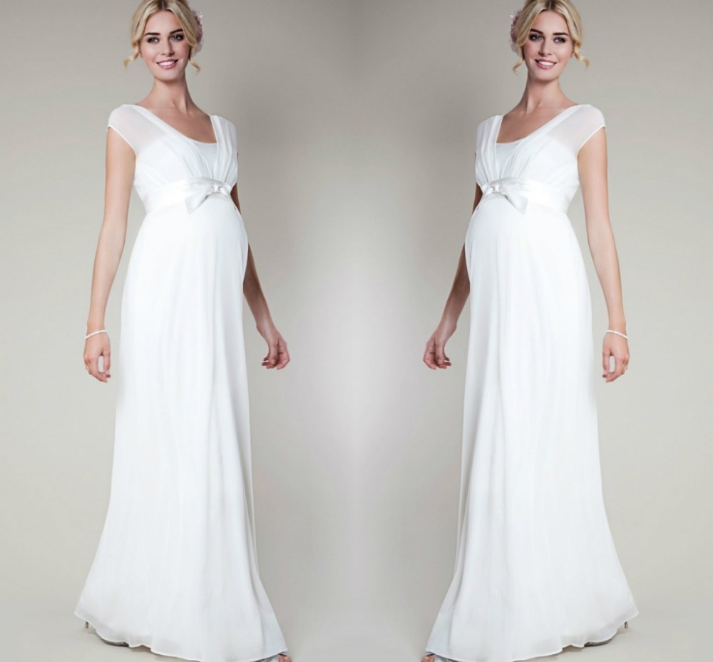 White plus size chiffon dress for pregnant women wedding for Plus size maternity wedding dresses