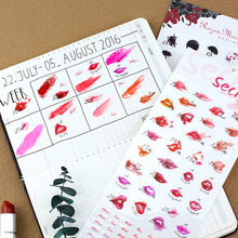 NOTE FOR Basic Styles Lipsticks Kiss Sticker Flower Date PVC Cute Stickers for DIY Decorative Scrapbooking Diary Planner(China (Mainland))