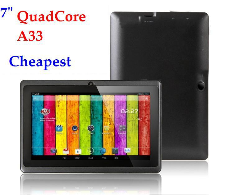 50%discounts!!! 7 inch Allwinner A33 Tablet Quad core 512MB/8GB mini Cheap Android 4.4 Tablet PC Q88(China (Mainland))