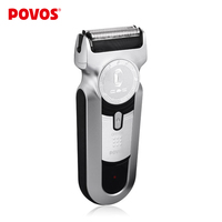 POVOS Men's Rechargeable Rotary Waterproof  Electric Shaver Razor Silver and Black Shaving PS6168