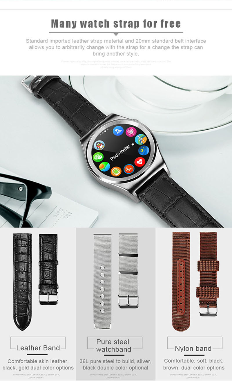 Heart Rate Monitor Leather Smartwatch Wearable Device Bluetooth Smart Watch Wristwatch for iPhone Samsung Relojes inteligentes