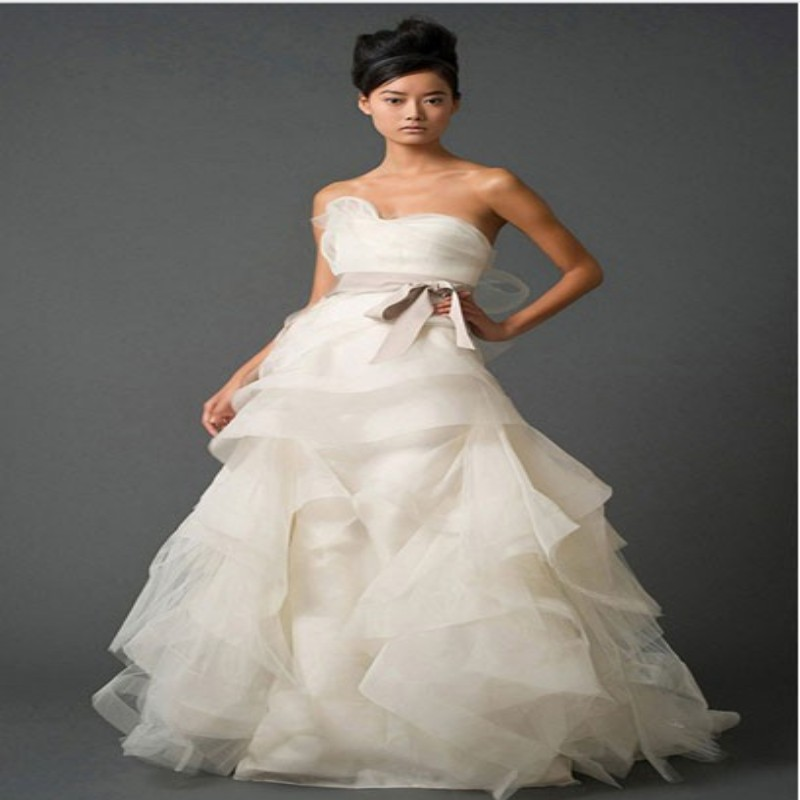 Summer long bridal dress ruffled organza strapless wedding for Strapless summer wedding dresses