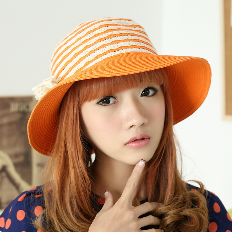 New arrival carry folding spring and summer female strawhat sun-shading millinery hat(China (Mainland))