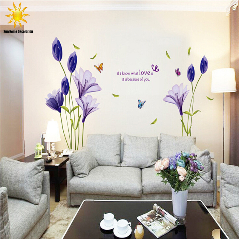 New Fashion Purple Tulips Flowers Wall Stickers For Living