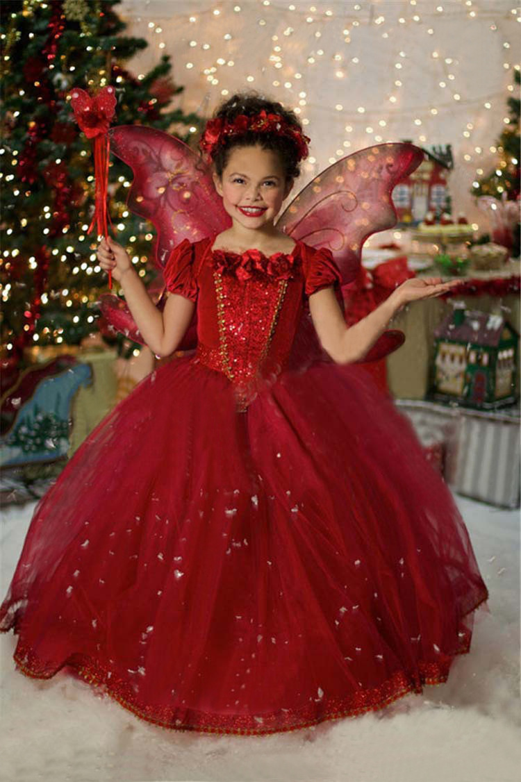 Hot Selling 4-10 Years Winter Baby Girl Dresses Blue&Red Children Party Dress Wedding Girls Clothing Princess Baby Kids Clothes(China (Mainland))