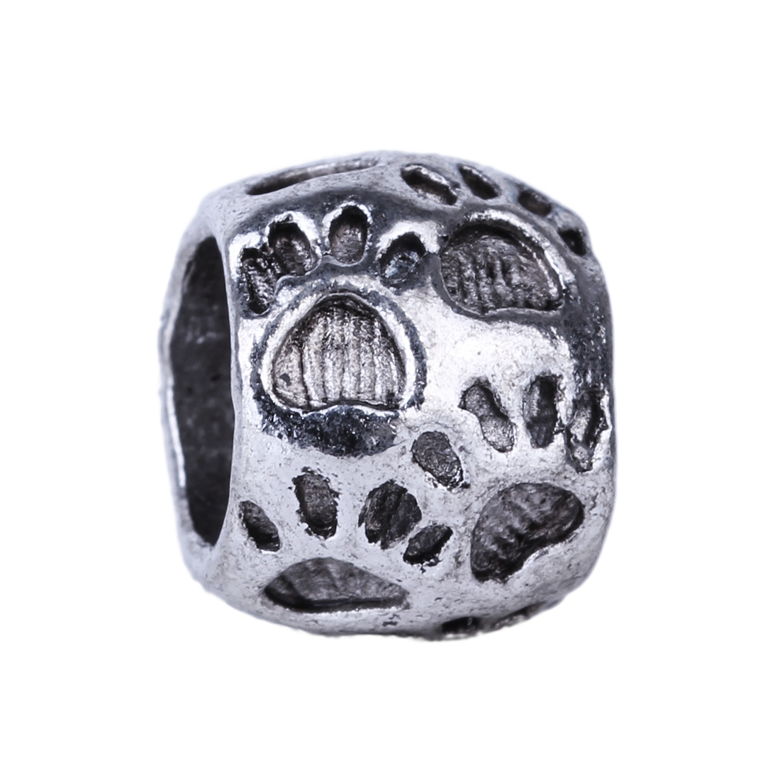10pcs/lot Wholesale European Charm Silver Dog Paw Print Bead DIY Fashion Style Alloy Beads Fit Pandora BIAGI Bracelets & Bangles(China (Mainland))