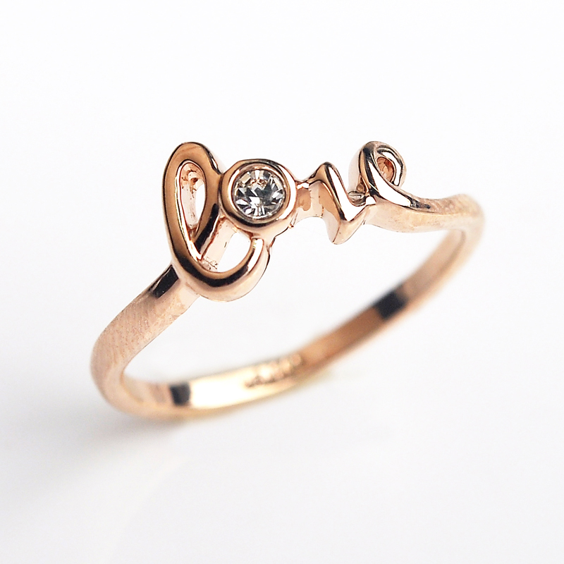 Love Word CZ diamond wedding Rings for women Rose Gold Plated Rings Female An