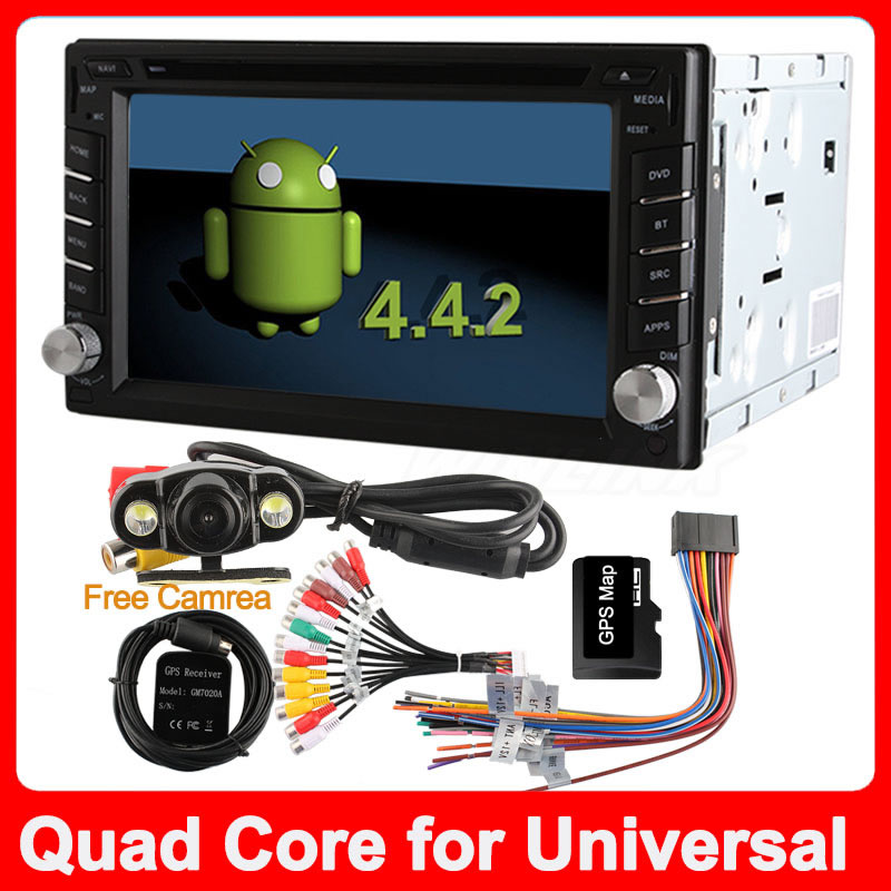 Quad Core 100% Pure Android 4.4.2 Car DVD Player for Universal 2 din GPS Navigation Stereo Audio Radio Capacitive Screen(China (Mainland))