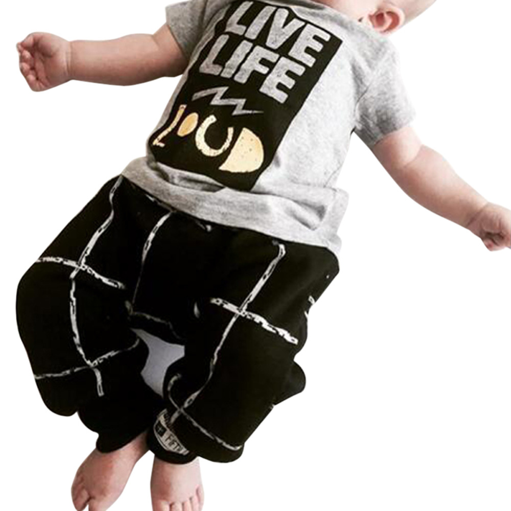 2pcs/set Summer Fashion Baby Boys Funny Letter Print T Shirts Tops & Plaid Pants Clothes Set For Newborn Infant Kid Children Z1(China (Mainland))
