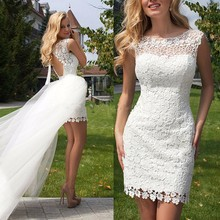 Custom Made 2017 Hot High Low Mini Sheath Lace Elegant Sexy Short Wedding Dresses Bridal Gown vestidos de novia Bridal Gown(China (Mainland))