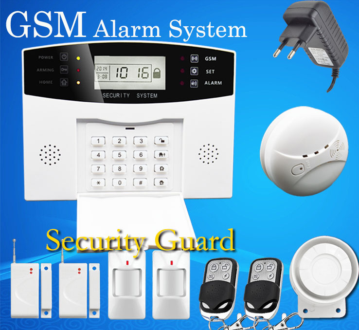 DHL Free Shipping Wireless GSM Alarm System With LCD Voice Keyboard Door Sensor PIR Sensor And Smoke Sensor GSM-M2B-1YG-1xJD(China (Mainland))