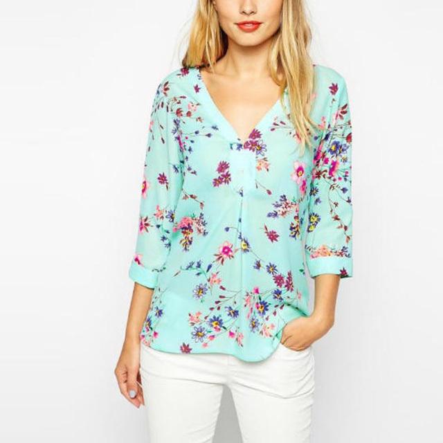 2014 Women Fashion Blouse Feminine Flower Printed Blusa Front Short Back Tops Long Style Ladies Loose Women Shirt BM6619(China (Mainland))