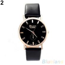 Men ' s mujeres de ginebra de moda Faux Leather Band cuarzo analógico reloj de pulsera 2LS9