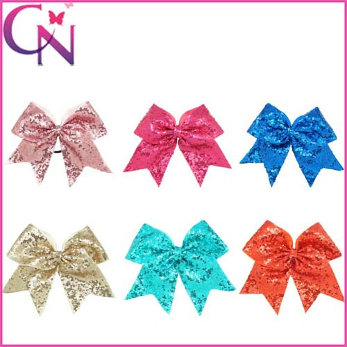 8 Inch Bling Sequin Baby Kids Cheerleading Bow With Elastic Hair Band High Quality Grosgrain Ribbon Bow Cheer Bow Free Shipping(China (Mainland))