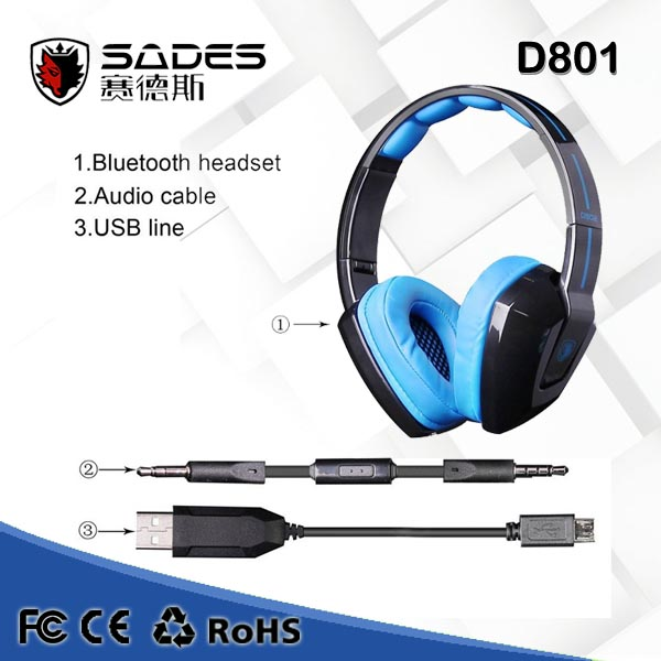Sades D802 Foldable Portable Wireless Bluetooth Stereo Gaming Headset Headphones with Mic Vibration for PC Laptop Smart Phones<br><br>Aliexpress