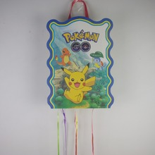 49*27cm pokemon go party decoration game paper pinata kids boys favor play game happy birthday candy toys party supplies 1pcs(China (Mainland))