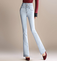 High waist casual denim jeans slimming pants for women plus size full length flare pants spring