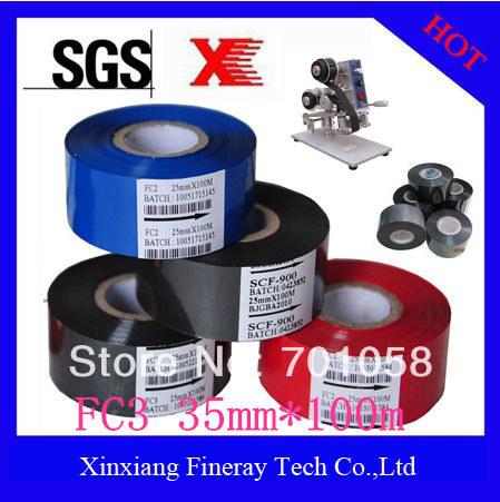(100 rolls/carton) Printing expiry date Black color size 35mm*100m Heat transfer film /hot transfer film /Hot date stamping foil(China (Mainland))