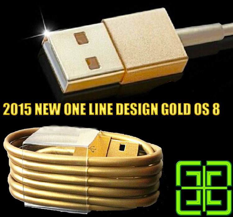 2015 new one line design gold metal Wire cabo 8pin USB Date Sync Charging Charger Cable for iPhone 5 5s 6 for iPad fit for IOS8(China (Mainland))