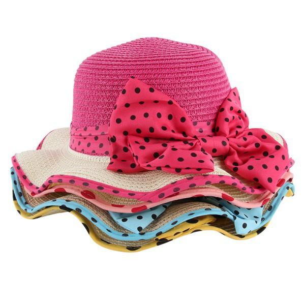Toddler Girls Dots Bow Sun Hats Wide Brim Princess Caps Summer Princess Beach Straw Sun Visor Cap New Sale(China (Mainland))