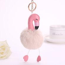 Favores do partido Flamingo Quente Pele De Coelho Bola Pompom Keychain Encantador Fofo Para O Saco Do Carro Acessórios Pingente de Presentes De Casamento para convidados(China)