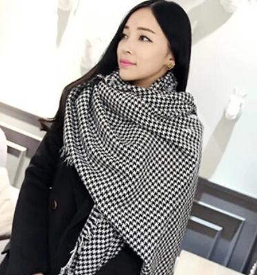 Большой платок мода классический черный и белый хаундстут плед пашмины теплый длинный шарф конструкции для женщин 190 * 90 см