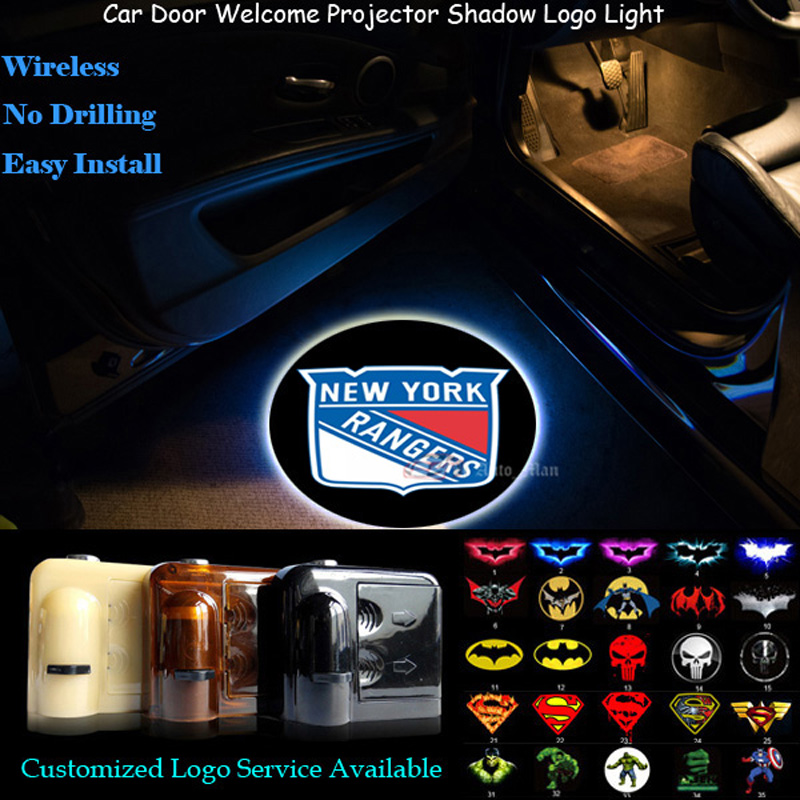 2x Wireless New York Rangers Logo Senor Car Door Welcome Ghost Shadow Spotlight Laser Projector Puddle LED Light(China (Mainland))