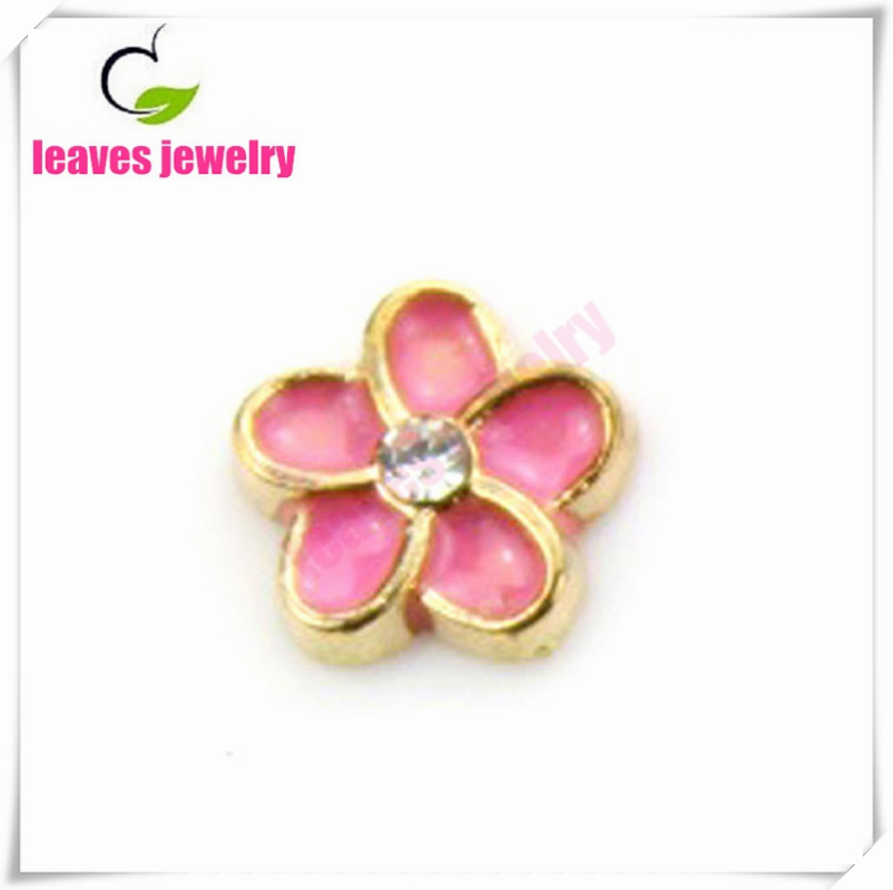 gold&peach alloy flower floating charms fit memory glass locket 20pcs/lot(China (Mainland))