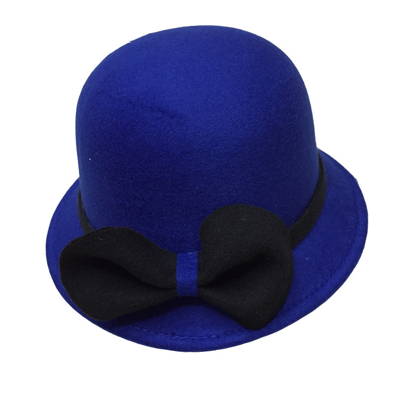 2016 new arrival fancy cute steampunk women winter felt bowler fedora hat decorated with bow bowler derby trilby cap navy blue(China (Mainland))