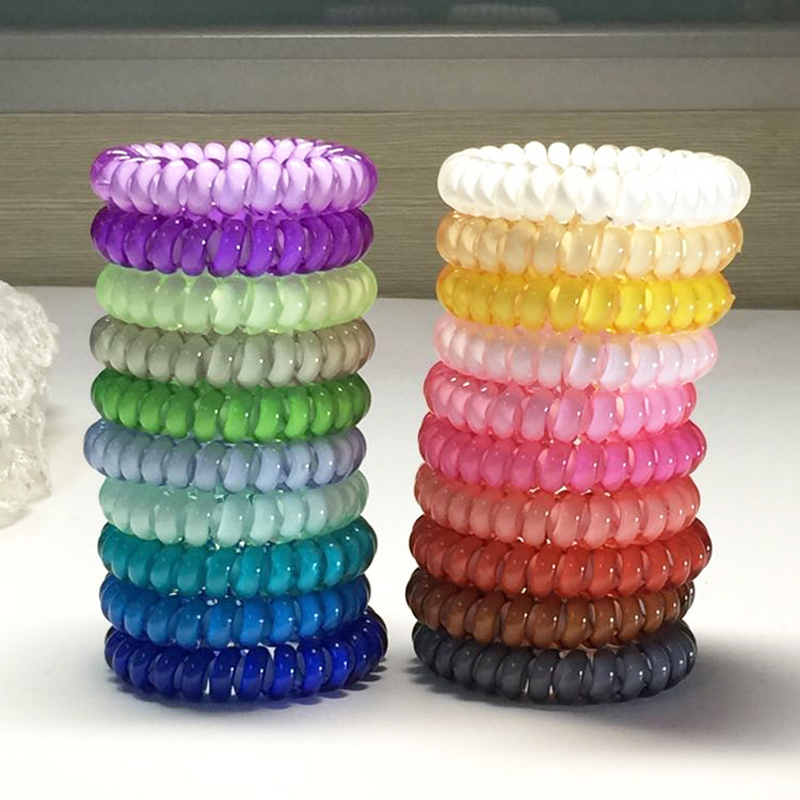 (2pcs/pack) Middle Size Popular Korean Candy Colored Haire Rope Telephone Wire Style Elastic Hair Band or Bracelet for Women