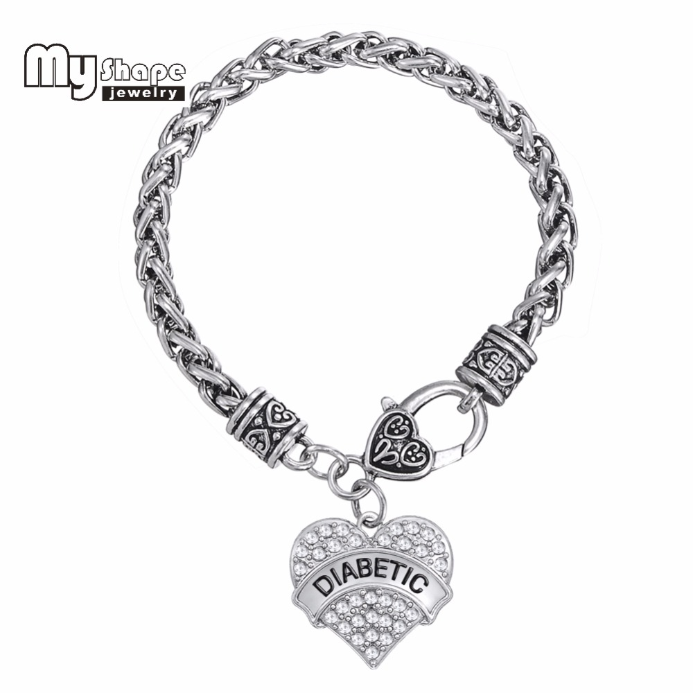 Diabetic Medical Alert Bracelet DIABETIC Awareness Love Clear Rhinestone Heart Charm Bracelet for woman and Man(China (Mainland))