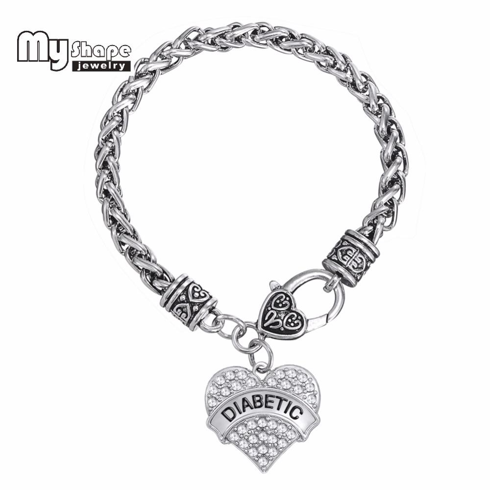 Diabetic Medical Alert Bracelet DIABETIC Awareness Love Clear Rhinestone Heart Charm Bracelet for woman and Man(China (Mainland))