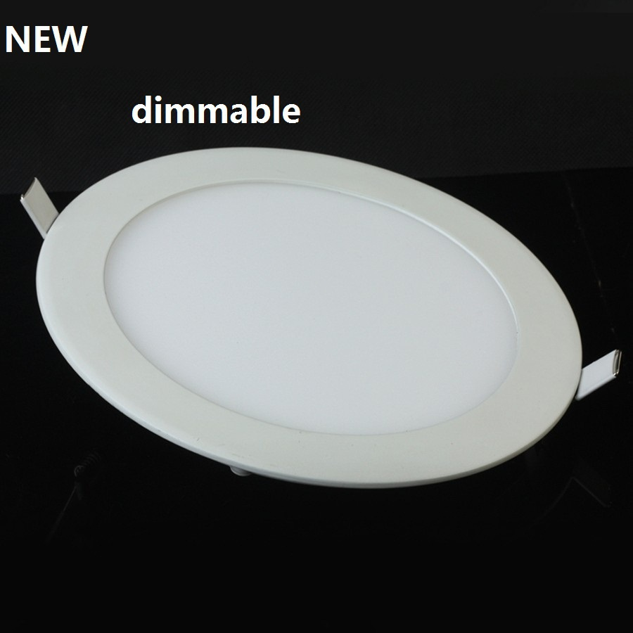 3W / 6W / 9W / 12W / 15W LED dimmable ceiling recessed grid downlight / slim round panel light free shipping(China (Mainland))