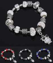 New Design Fashion Glass Crystal Beads Heart Owl Charm Bracelets Bangles Silver Bracelets for Women Girls Valentine's Day Gift(China (Mainland))