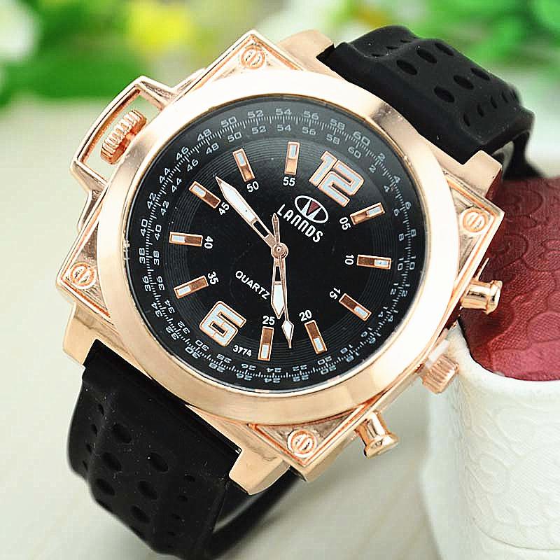 NEW Men Geek Watch Big Golden Silicone Watch Square Wristwatch Fashion Watch Quartz Watch Man Lands Brand(China (Mainland))