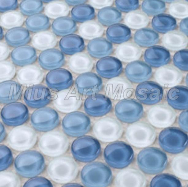 Mius kunst moza ek penny ronde blauwe kristallen glasmoza ek tegel witte cirkel moza ek e1034 - Mozaiek blauwe bad ...
