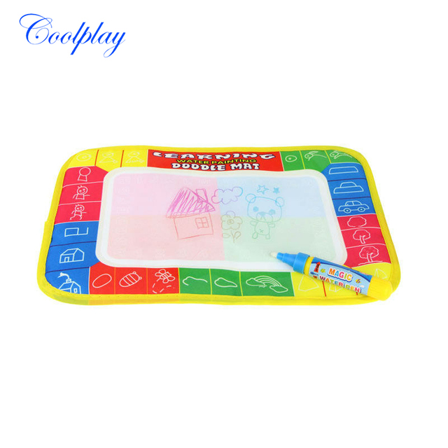 Coolplay 29X19cm 4 color Water Drawing Mat Aquadoodle Mat with Magic Pen Drawing board Rug baby play mat for kids gift CP1366-1
